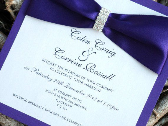 Wedding Invitation Purple Invitationswedding Stationaryblue