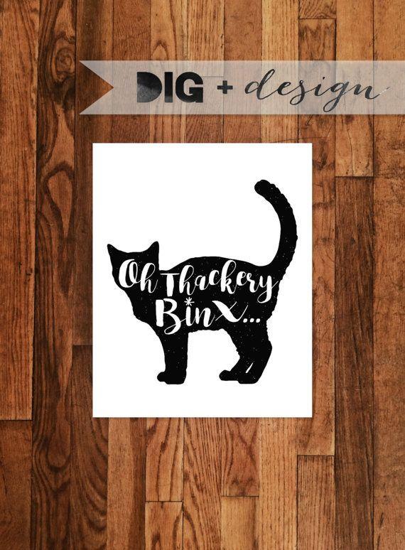 Oh Thackery Binx... Minimal Halloween Cat Art by DigAndDesign