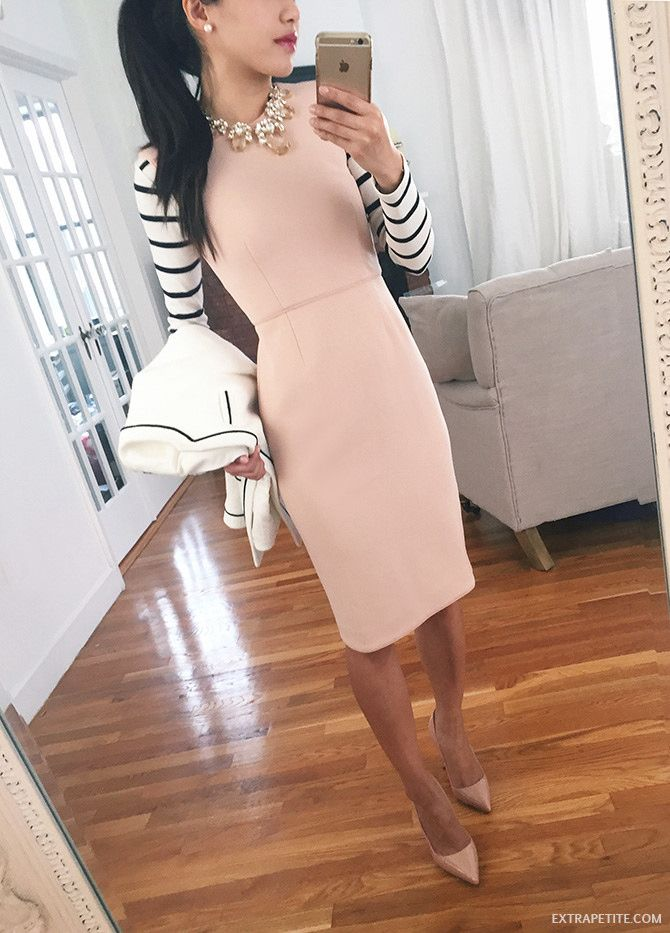 feeling spring work outfit // blush pink pencil dress, striped tee, nude pumps, statement necklace