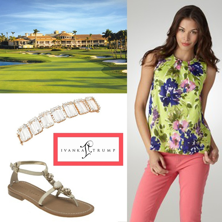 #ivankatrumpshop  Wear the Brigid top with the Pepin T-strap sandal and a bit of rose gold, rock crystal and diamonds on your wrist all available at shop.ivankatrump.com. A must-do look when travelling to the Trump Hotel Collection's recently added Doral Golf Resort & Spa in Miami...the hotel is expected to open in Fall 2013...but this look is too hot to wait, get it NOW! Is it 2013 yet?????