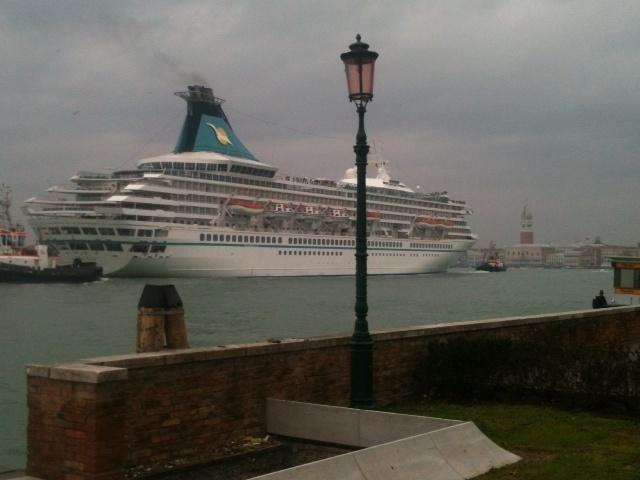 Venice-Italy. A ship is getting to the harbour.