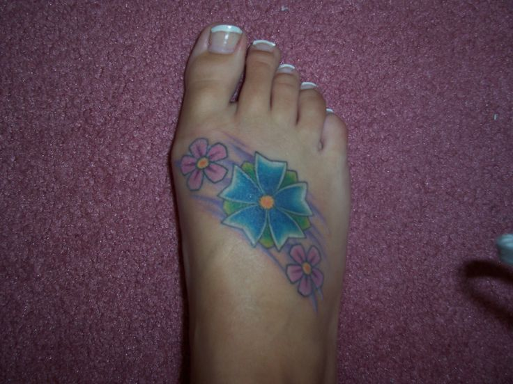 blue flower Tattoos | Pink And Blue Flowers Tattoo Picture