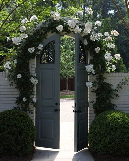 An arch smothered with roses with double, painted, wooden gates