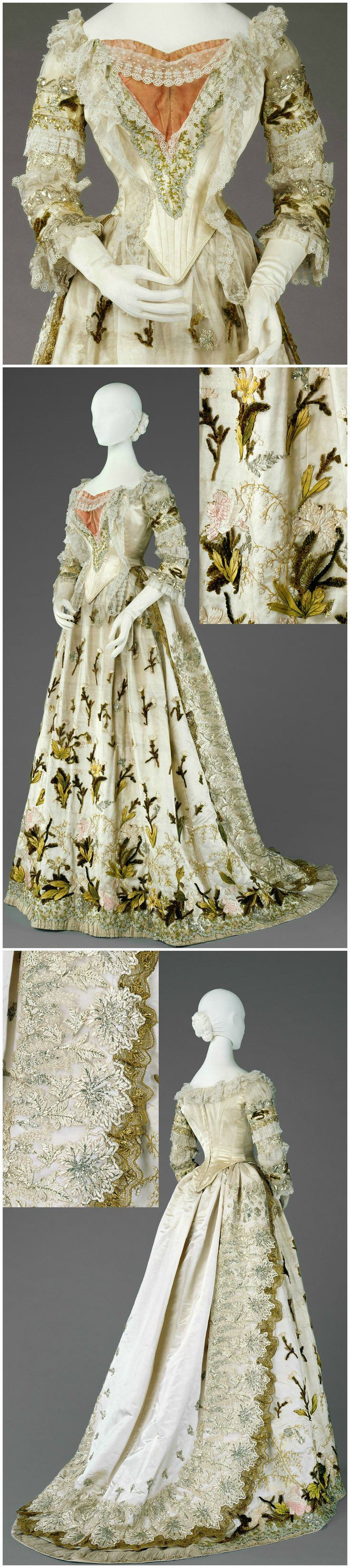 "Dress of light-coloured satin and silk tulle with chenille applications, made by Fanny Scheiner, 1875/85. Belonged to Empress Elisabeth (""Sisi""). Collection of Imperial Carriage Museum / Kunsthistorisches Museum, via Google Cultural Institute."
