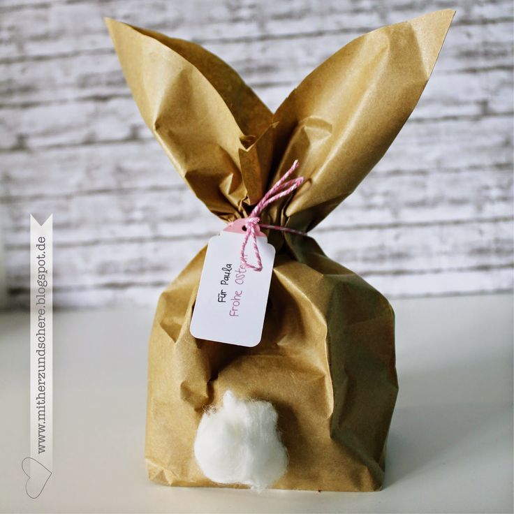 Super einfaches DIY Osterhase Verpackung Papiertüte/ Butterbrotpapier, super fun and easy Easter bunny packing