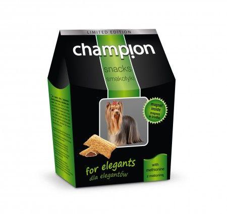 Champion Smakołyki dla elegantów. Smakołyki dla psów wzbogacone o metioninę, jeden z głównych aminokwasów struktury włosa, które korzystnie wpływają na wygląd skóry i okrywy włosowej. Produkt dostępny w poręcznym i eleganckim kartonikowym opakowaniu.