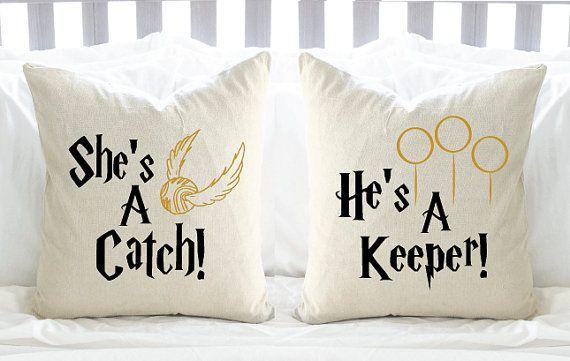 """Harry Potter """"She's A Catch & He's A Keeper"""" Pillow Set - 2 Pillows"""