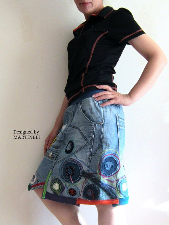 Crazy Patchwork Skirt Patchwork Denim Upcycled Clothing Denim