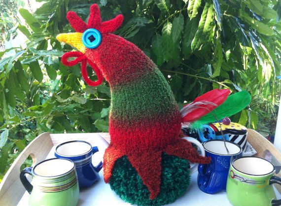 Rooster Tea Cosy Hand made Original Design Red by TheCosyCoopNT