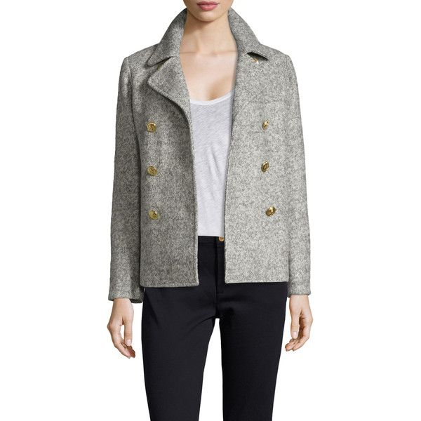 GANT Women's Curly Double Breasted Peacoat - Grey - Size L ($139) ❤ liked on Polyvore featuring outerwear, coats, grey, double breasted peacoat, gray peacoat, double breasted coat, grey coat and pea coat