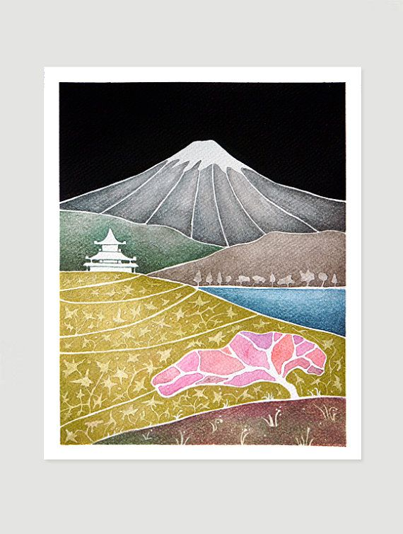 RESERVED FOR KAY Japan original watercolor painting by VApinx, $58.00