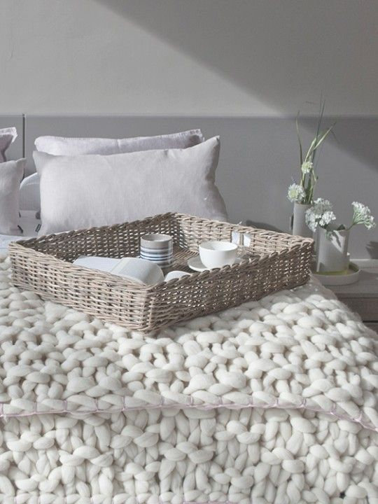 Basket stitch blanket Taupe-Double | Knittingnoodles