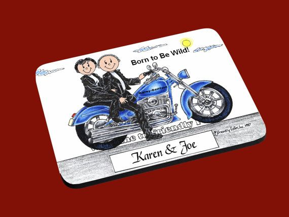 personalized Motorcycle Couple Mouse Pad by CartoonCityExpressio, $15.00