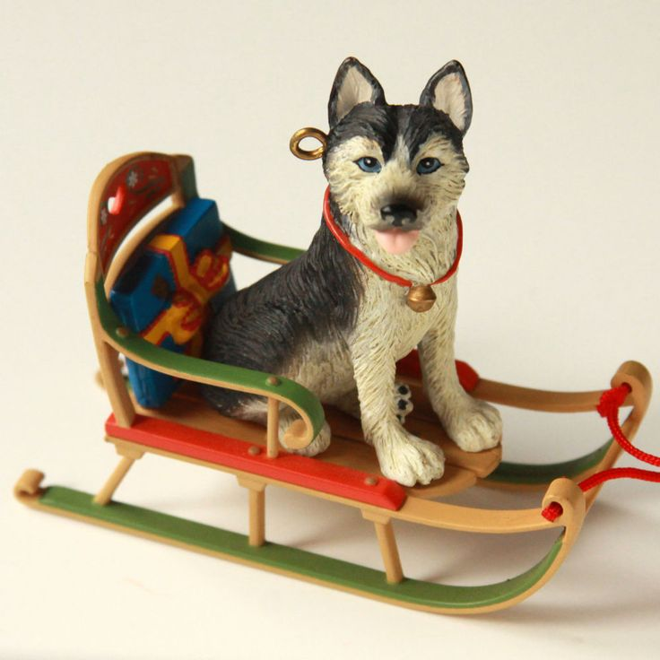 husky sleigh christmas decoration for kids