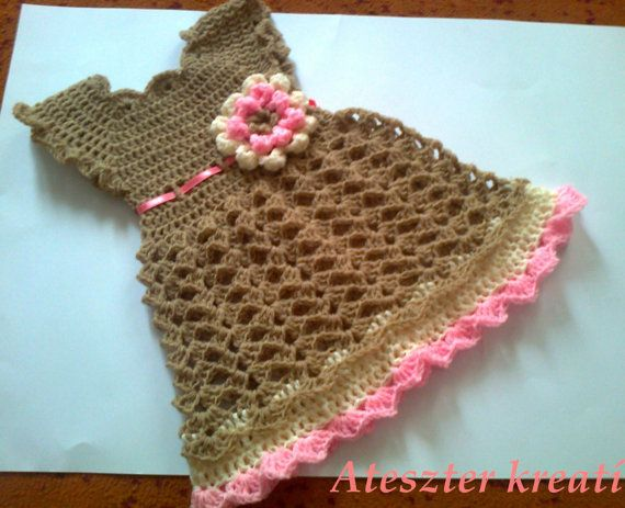 ... Crochet Baby Dresses, Brown Colors, Baby Crochet, Babies Clothes, Baby