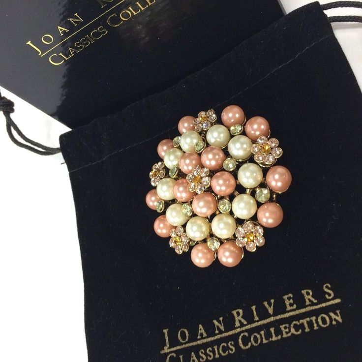 Joan Rivers Classic Collection Brooch Faux Pearl Crystal Cluster Pink Round 2 in #JoanRivers
