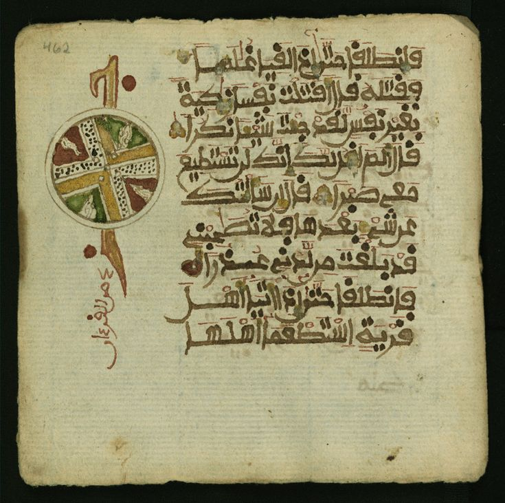 Leaf from volume one (s.1-18) of a decorated two volume set of the Koran (Qur'an) produced in sub-Saharan (West) Africa in the 13th AH / 19th CE century