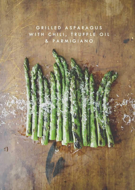 Grilled Asparagus with Chili, Truffle Oil, & Parmigiano | The Kitchy Kitchen