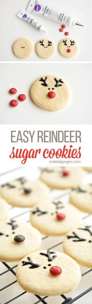 These reindeer sugar cookies are really easy to make and they look ADORABLE! The cookie recipe is so good! Perfectly even cookies, with no chilling required!