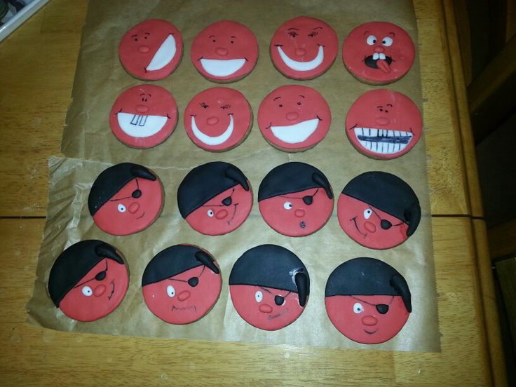 red nose day biscuits covered in sugarpaste