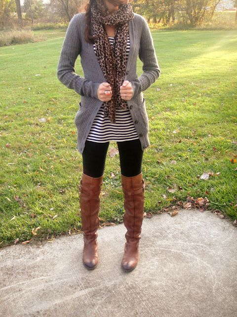 Leggings u0026 grey sweater u0026 leopard scarf u0026 striped tunic with brown boots | My Style