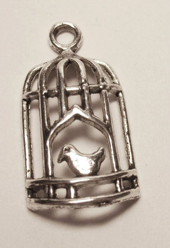 CLEARANCE Antique silver bird in cage charm by rabbitssupplies