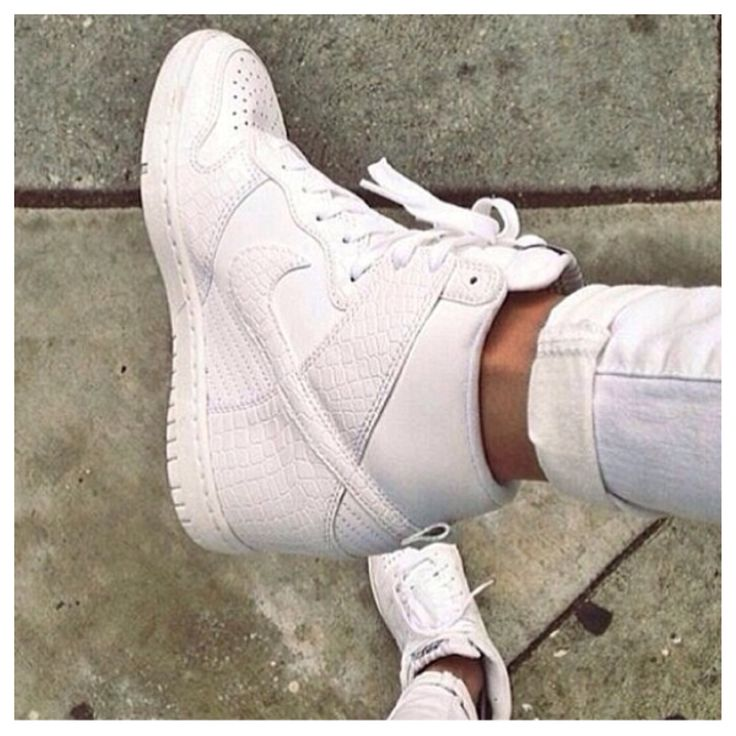 white on white nike wedge sneakers tennis shoes