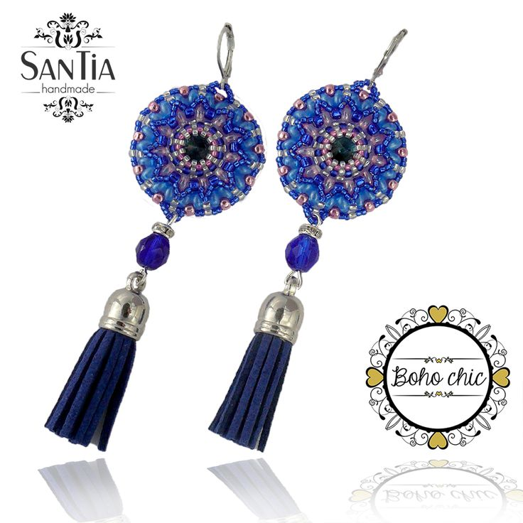 Modro-ružové náušnice so strapcom :http://santiahandmade.com/produkt/modro-ruzove-nausnice-so-strapcom/