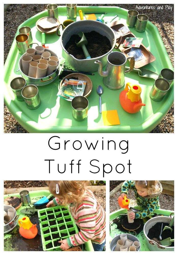 Gardening Tuff Spot to compliment spring / gardening / growing topic. Let children explore planting their own seeds in this messy outdoor play tuff tray. Emma James