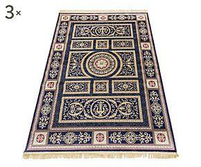 Parure di 3 tappeti in viscosa Imperial blu - max 80x150 cm