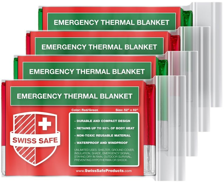 Emergency Mylar Thermal Blankets (4-Pack) + BONUS Signature Gold Foil Space Blanket: Designed for NASA - Perfect for Outdoors, Hiking, Survival, Marathons or First Aid (Various Color Options)
