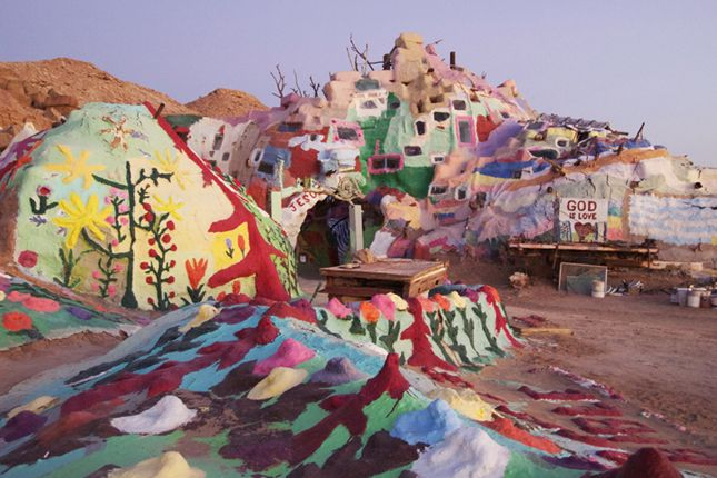 25 Wacky Roadside Attractions for Your Next Road Trip | Brit + Co. (Salvation Mountain - Niland, CA)