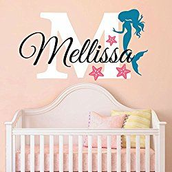 "Nursery Mermaid Personalized Custom Name and Initial Wall Decal Sticker 34"" W by 24"" H, Girl Name Wall Decal, Girls Name, Mermaids Wall Decor, Girls Decor, Girls Bedroom, PLUS FREE HELLO DOOR DECAL"