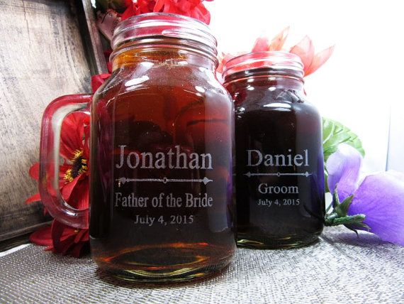 Set of 9 Personalized Wedding Mason Jar with by weddingpartygifts
