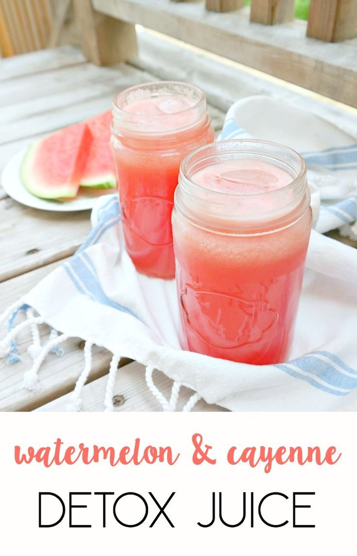 Watermelon Cayenne Detox Juice - ultra cleansing, hydrating, refreshing and spicy while being naturally sweet. Only 3 ingredients to detox and rev up your metabolism. An icy and spicy summer drink. From The Glowing Fridge. #detox