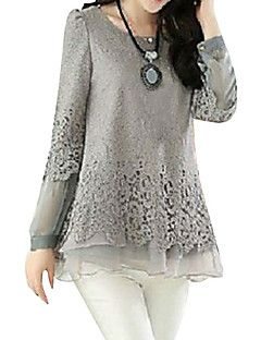 Women's+Patchwork+Black/Beige/Gray+Blouse,Casual+Round+Neck+Long+Sleeve+Hollow+Out+–+USD+$+12.99
