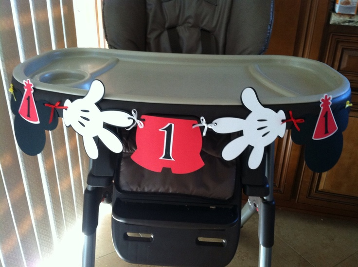 I Am 1 1st Birthday High Chair Banner Mickey Mouse