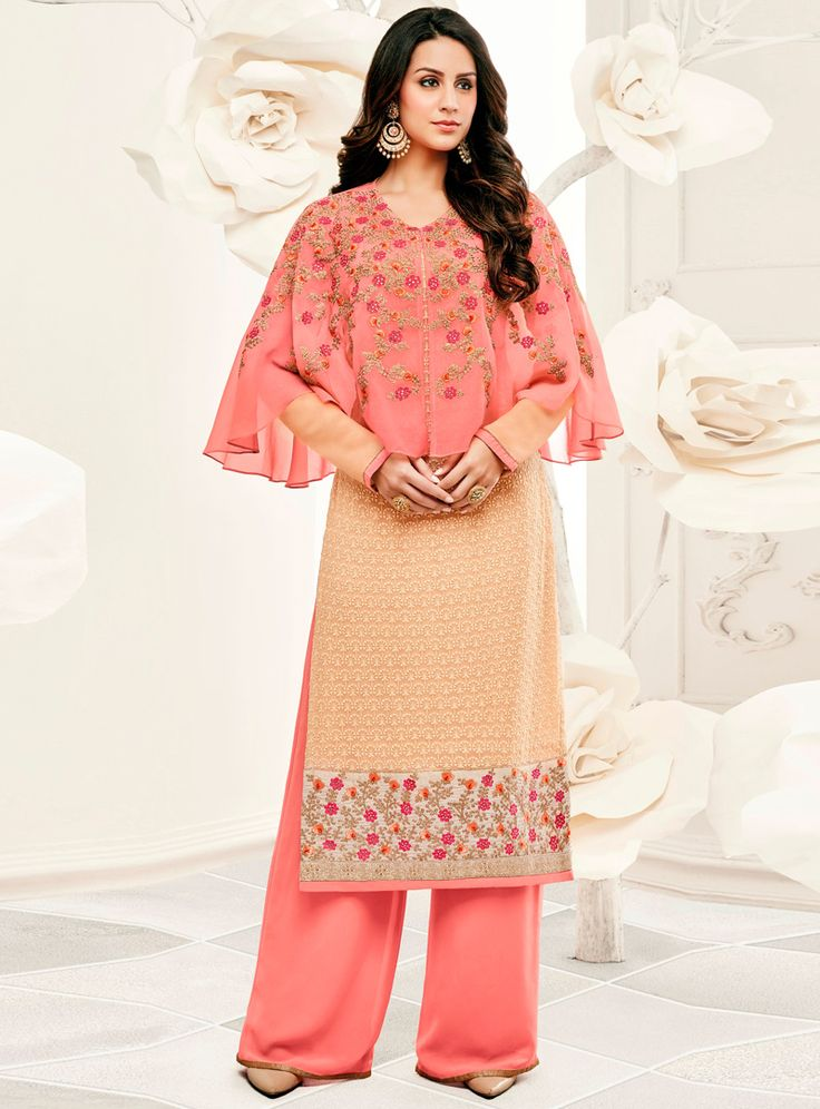Peach Georgette Palazzo Style Suit With Cape 106388