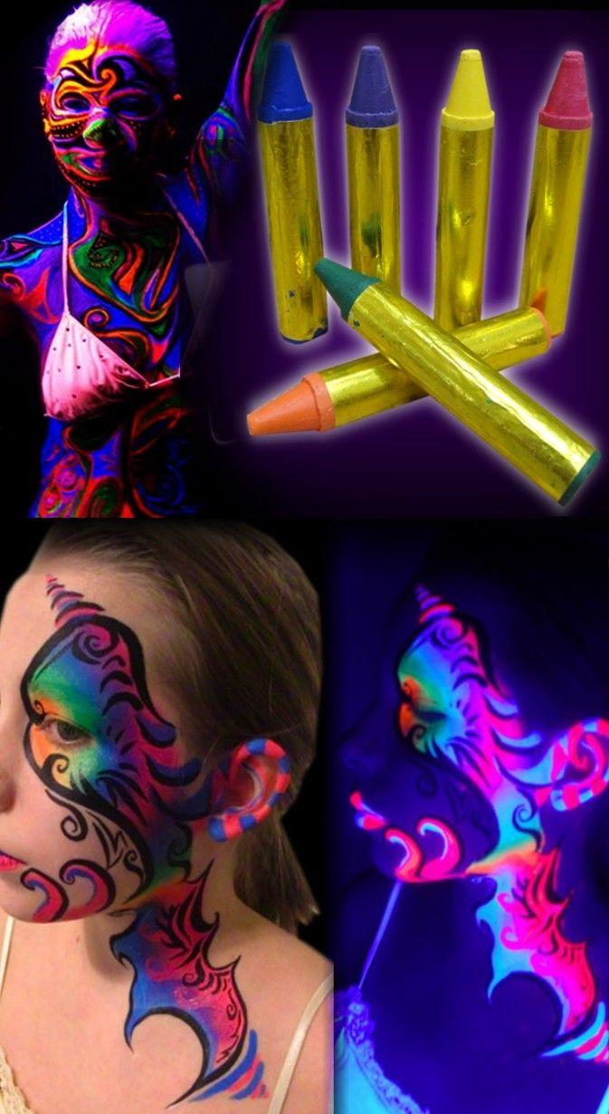 Bedroom glow blacklight party black lights blacklight bedroom - Black Light Face Body Makeup Sticks Set Of