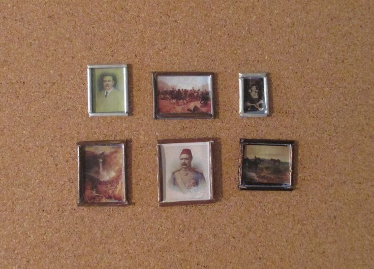 221B Baker Street - pictures from up left: portrait of Arthur Conan Doyle, The Battle of Maiwand, photo of Irene Adler, Reichenbach Fall, General Gordon, Dartmoore ponies