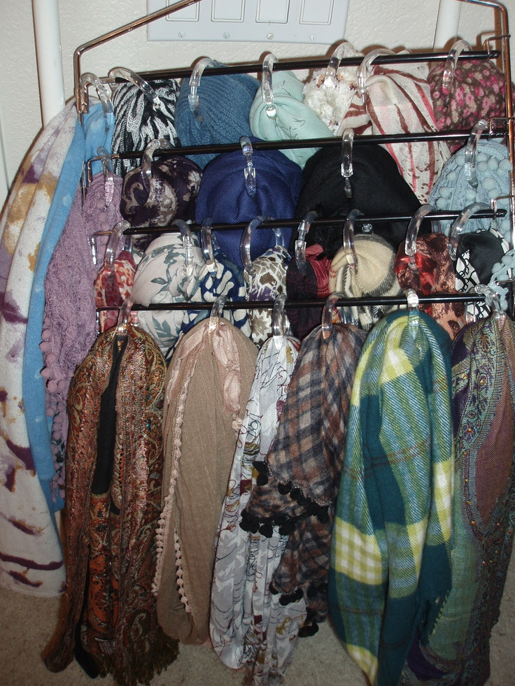 Scarf storage challenge solved. A pant rack and shower curtain rings - voila.