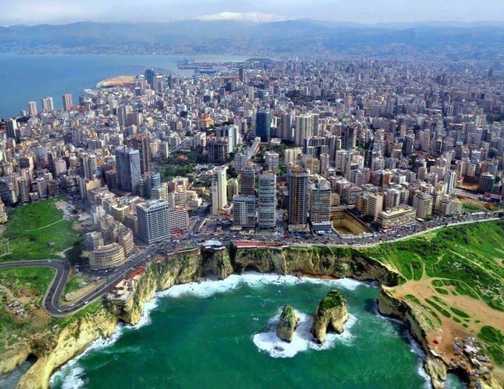 Pigeons Rock, off coast, Beirut, Lebanon