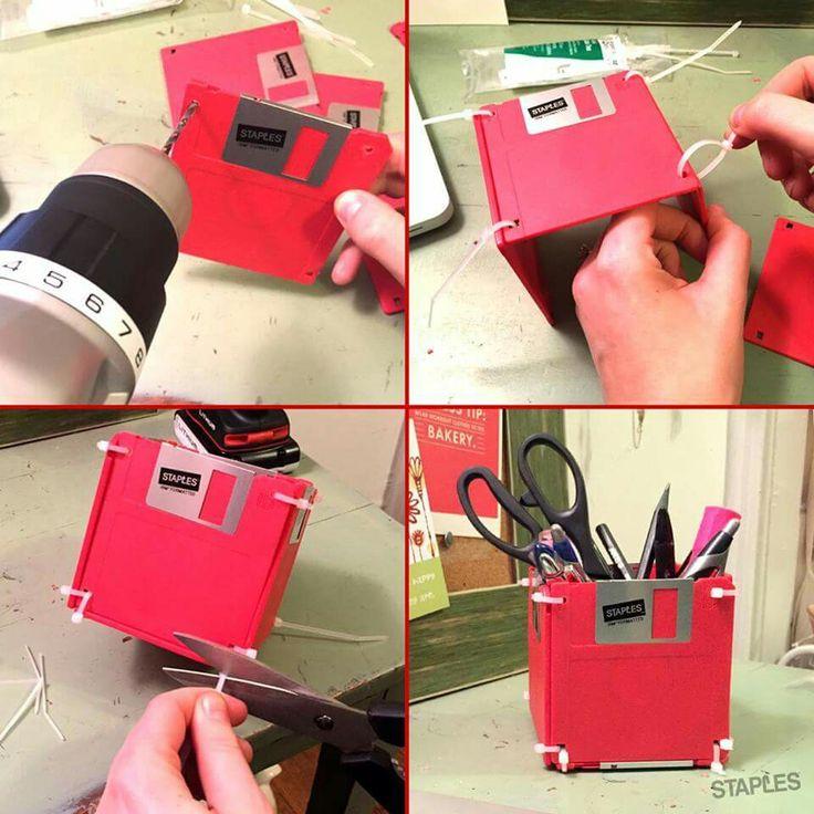 floppy office. floppy disk pen holder office