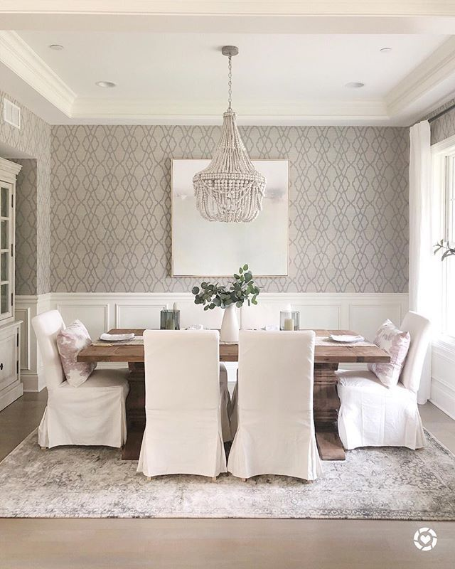 Dinging Room Decor Wallpaper Restoration Hardware Table Slipcover Dining Chairs Beaded Ch Dining Room Wallpaper Dining Room Remodel Dining Room Inspiration