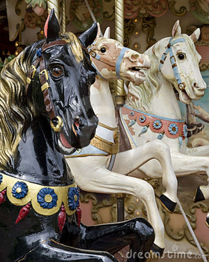 Carousel Horse Pictures Graphics   Three horses on fairground carousel. The carousel is of french origin ...