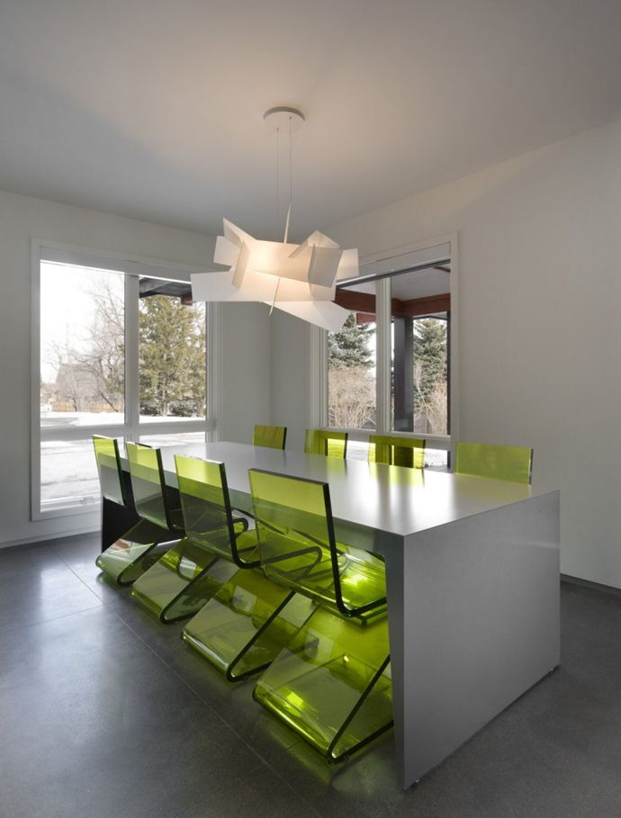 Minimalist Interiors | Arch11Studio, Colorado - clear green chairs, ultra modern sleek lines