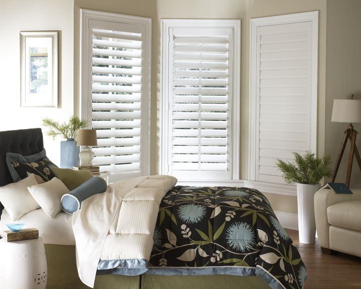 White plantation shutters for the bedroom stunning shutters pinterest plantation shutter for Cost of blinds for 3 bedroom house