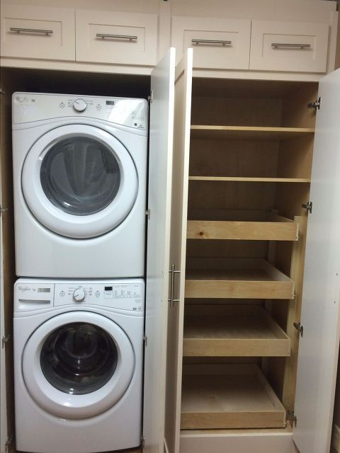 laundry pantry combination remodel, closet, home improvement, laundry rooms, storage ideas, After of Open Laundry and Pantry Cabinets