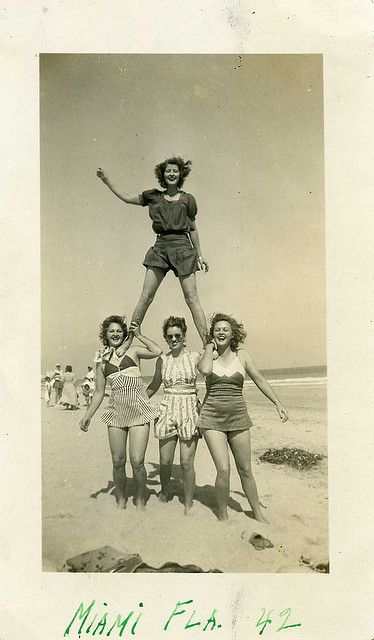 Fun with friends on Miami Beach, 1942 40s found photo beach bathing suits swimsuits