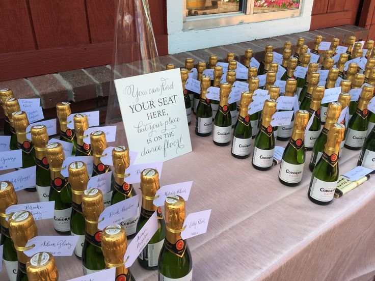 Mini Champagne bottles as escort cards with cute sign | Cloud 9 Weddings